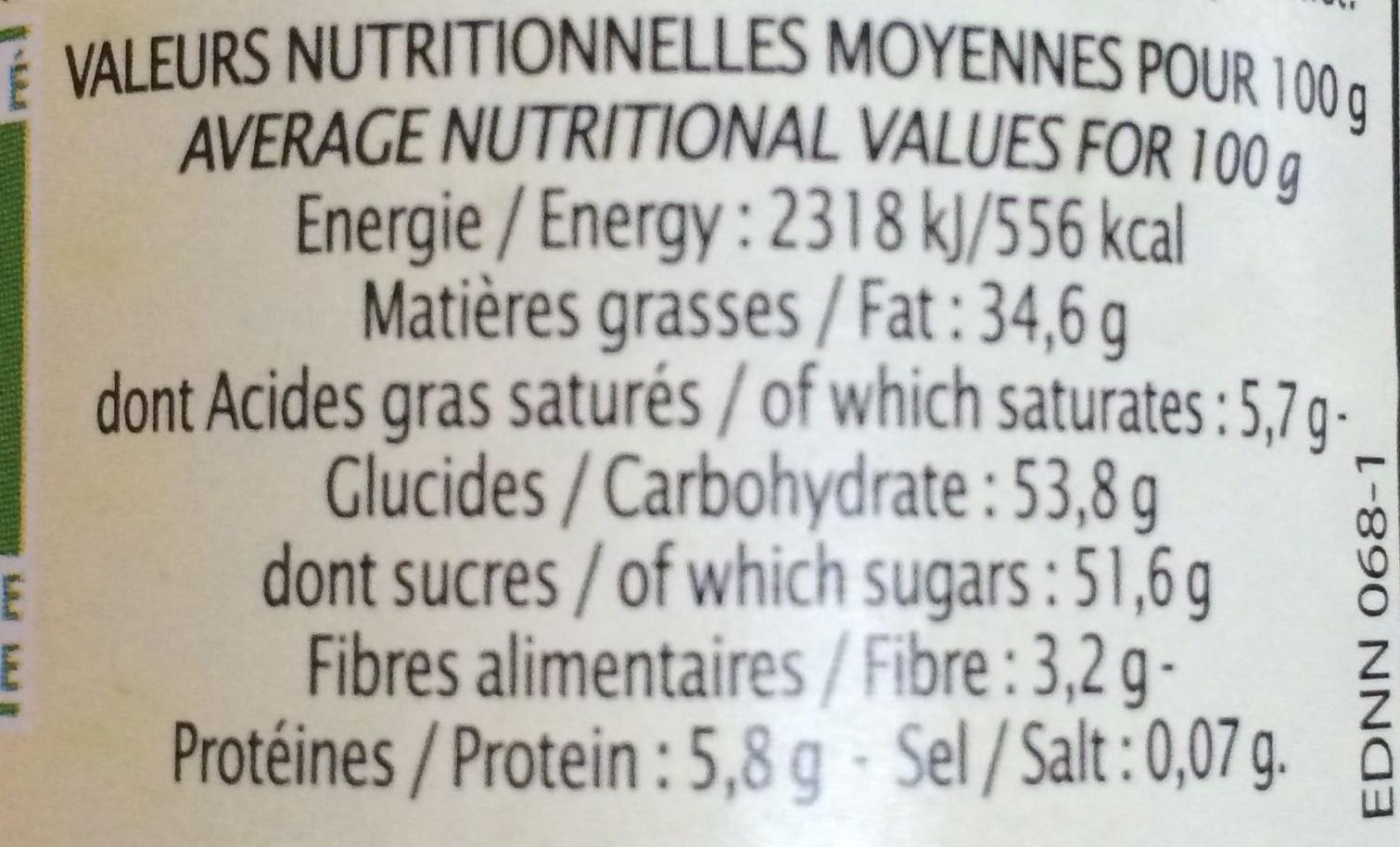 Pâte à tartiner Chocolat Noisette - Valori nutrizionali - fr