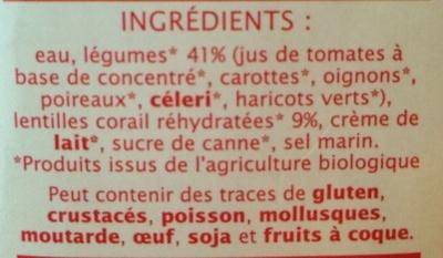 Velouté légumes et lentilles corail - Ingrediënten - fr