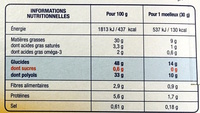 Moelleux cacao - Informations nutritionnelles