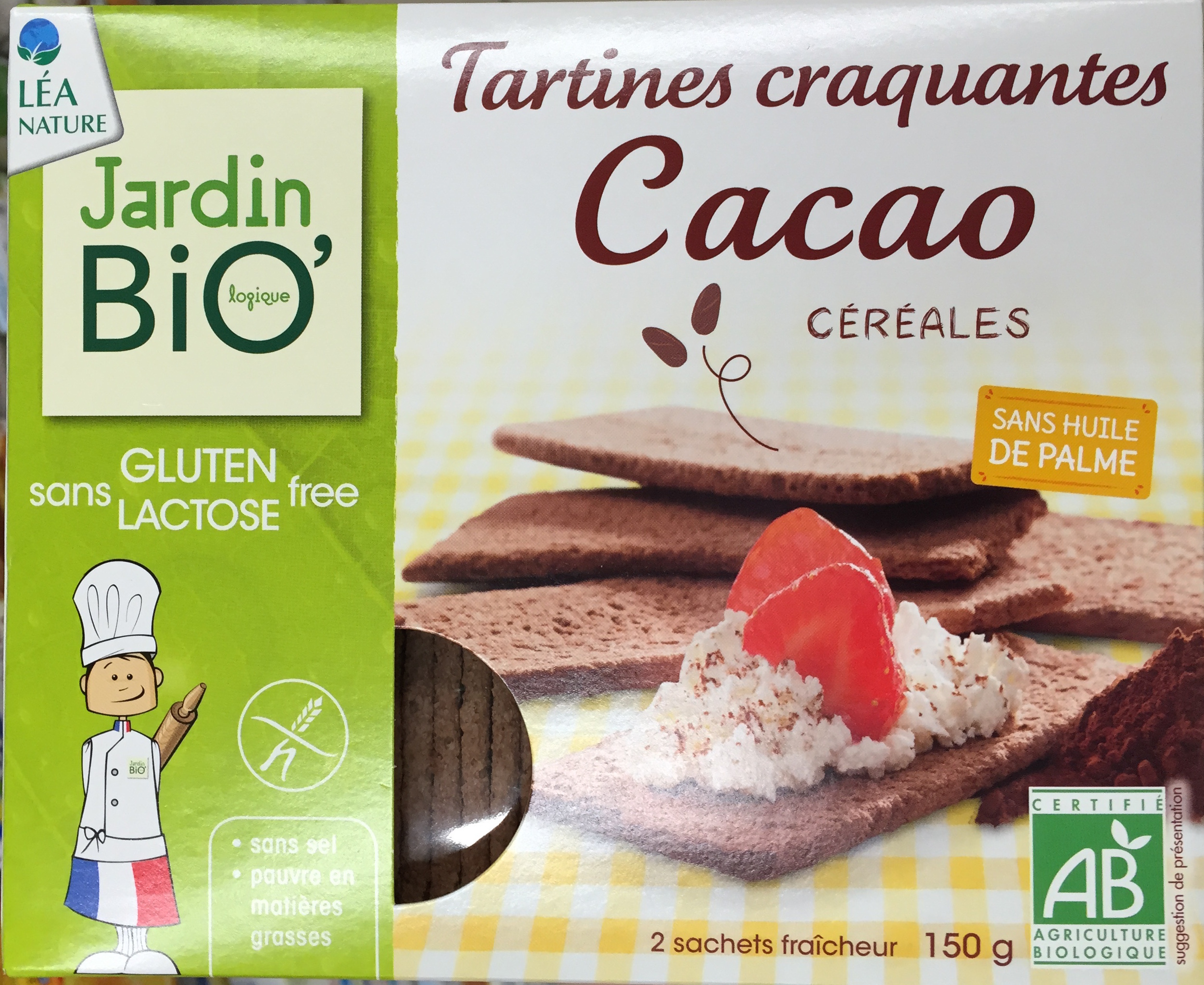 tartines craquantes cacao c r ales jardin bio 2 75 g 150 g. Black Bedroom Furniture Sets. Home Design Ideas