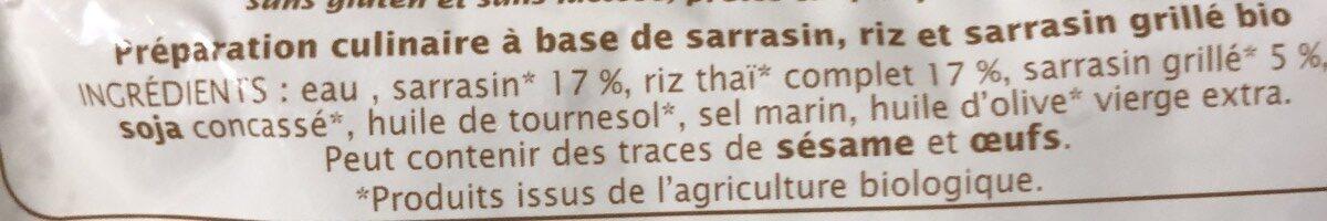 Duo Sarrasin et Riz - Ingredients
