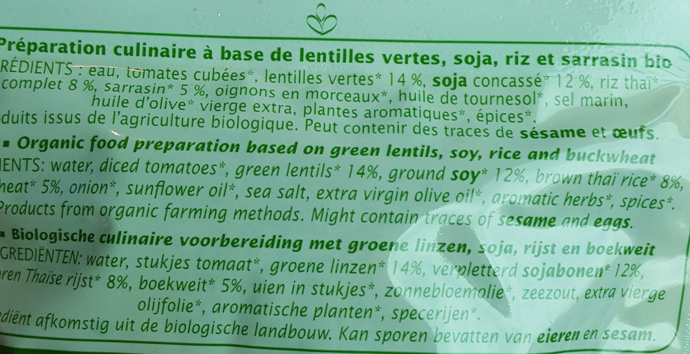 Céréales et lentilles cuisinées - Ingredients