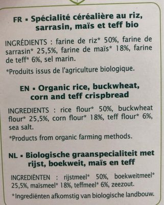 Tartines craquantes multicéréales - Ingredients