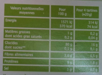 Tartines craquantes multicéréales - Nutrition facts