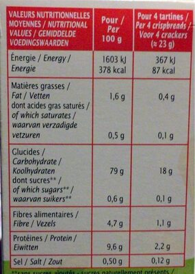 Tartines craquantes Multicéréales - Nutrition facts - fr