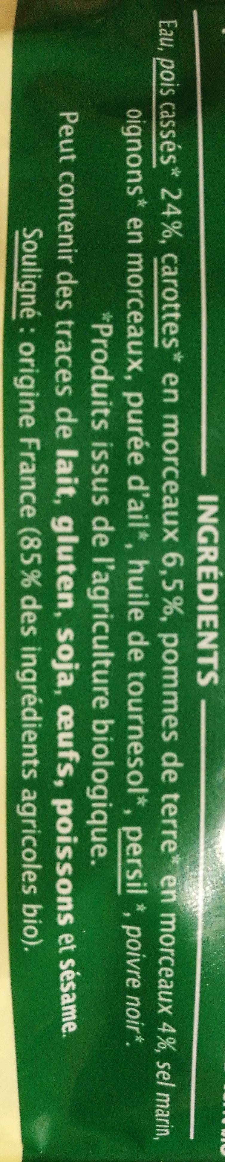 Pois cassés à la paysanne Bio - 300 g - Jardin Bio - Ingrediënten - fr