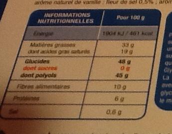 Chocolat noir fleur de sel saveur caramel - Voedingswaarden