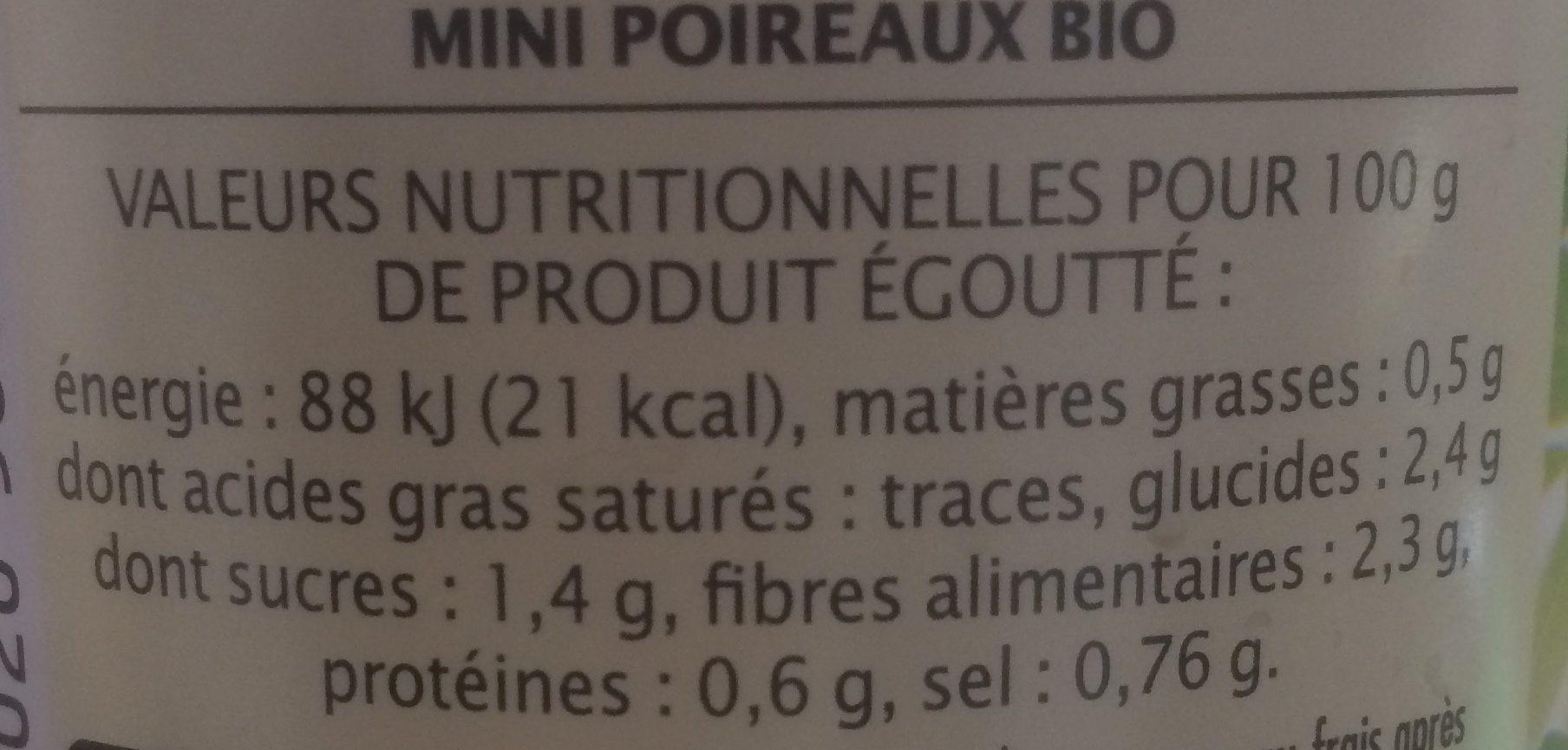 Mini-poireaux Bio - Składniki - fr