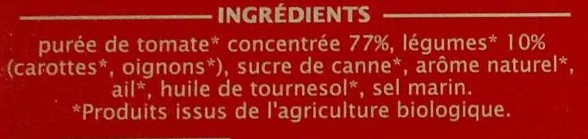 Sauce tomate aux légumes bio - Ingrédients