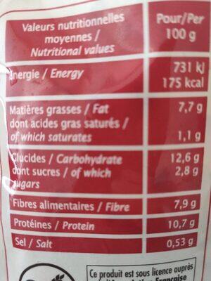 Mélange Gourmand Soja Et Quinoa Bio - Informations nutritionnelles - fr
