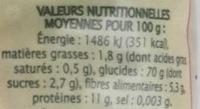 Coquillettes Semi-Complètes - Voedingswaarden - fr