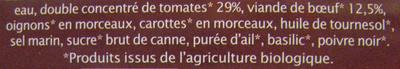 Sauce bolognaise Bio - Ingrediënten