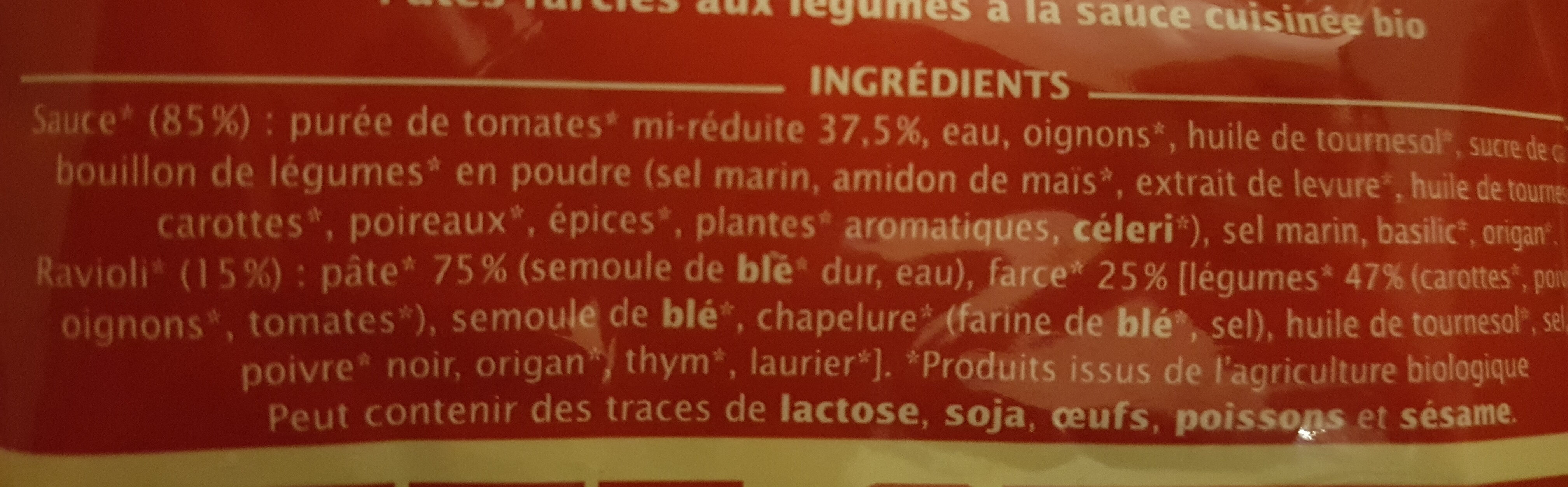 Ravioli de légumes - Ingrédients - fr