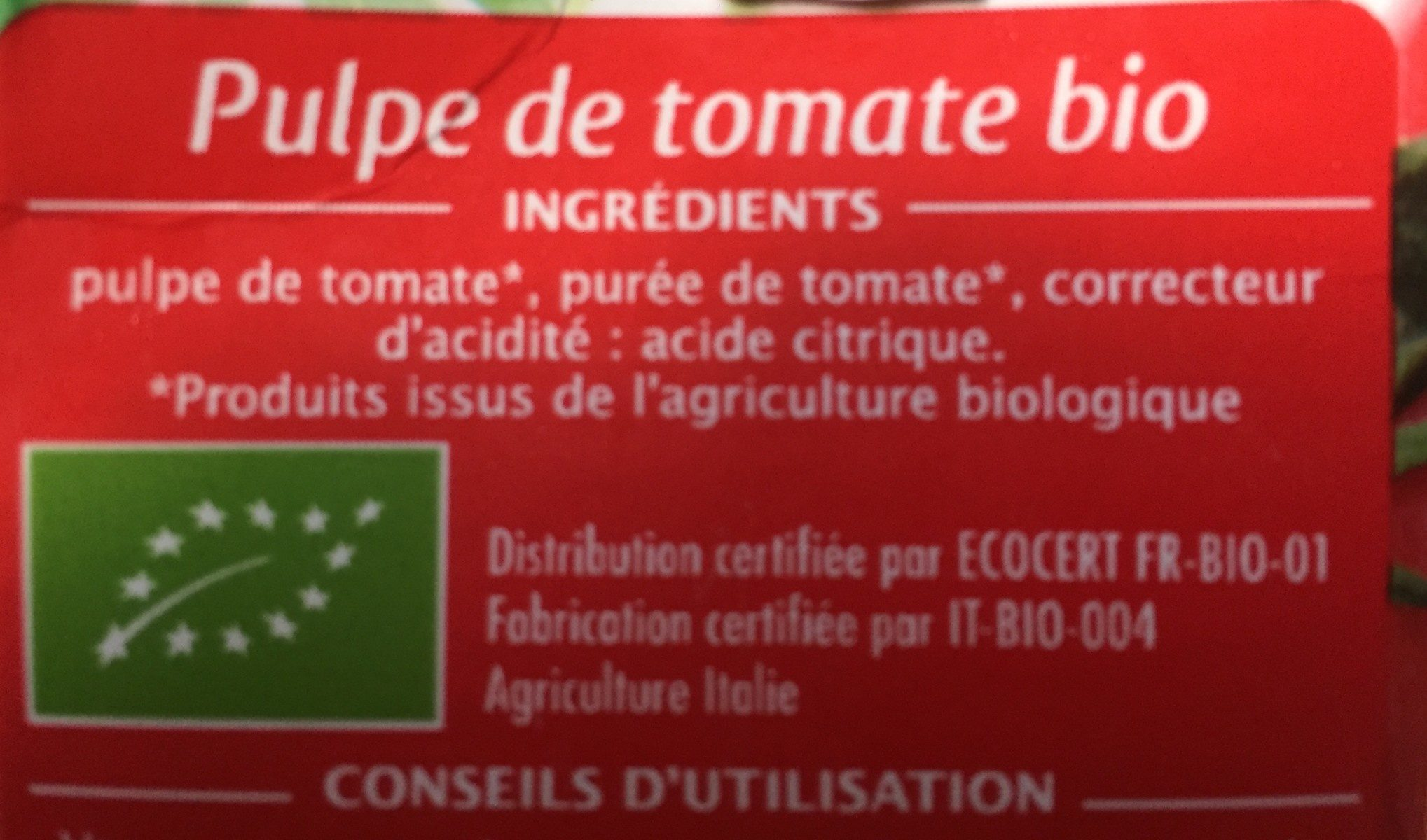 Pulpe de tomate bio - Ingrediënten