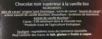 Chocolat Noir Vanille Bourbon - Ingredients