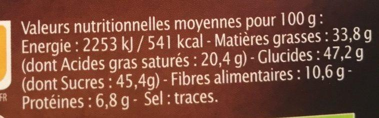 Chocolat Noir Vanille Bourbon - Nutrition facts