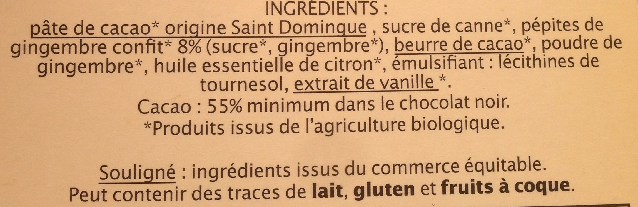 Tablette Chocolat Noir Gingembre Citron Bio - Ingrediënten