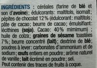 Cookie aux Graines de Sésame et Pépites de Chocolat - Ingrédients