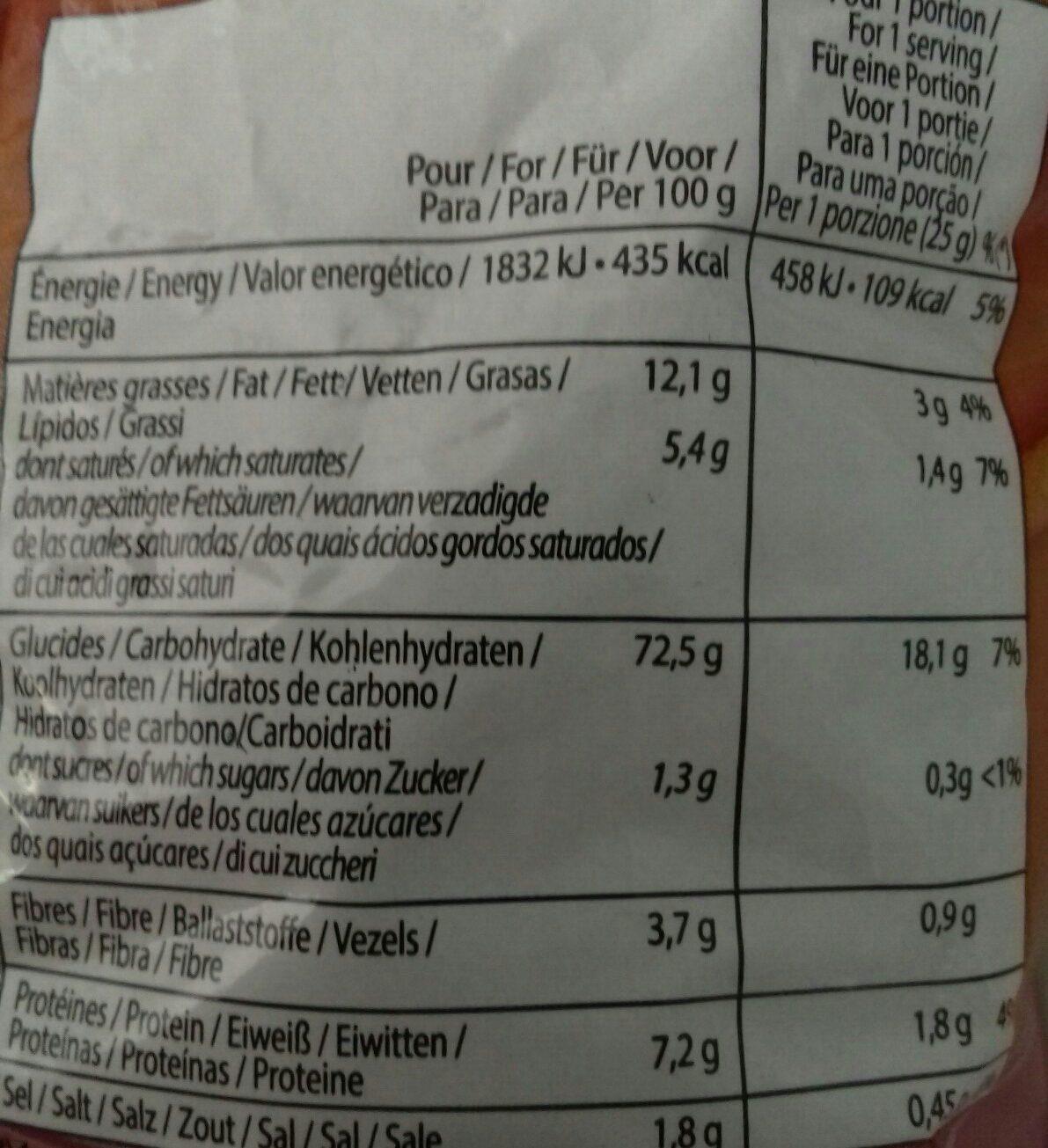 Snacks frites goût bacon - Ingrediënten - fr