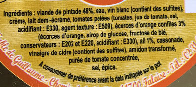 Pintade au Chutney d'Orange et Caramel d'Ail - Ingredients