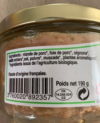 Pâté de Campagne Bio - Ingredients