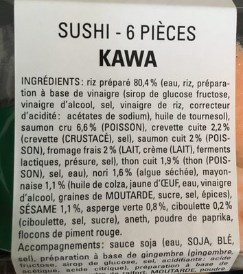 Sushi 6 pieces - Ingredients