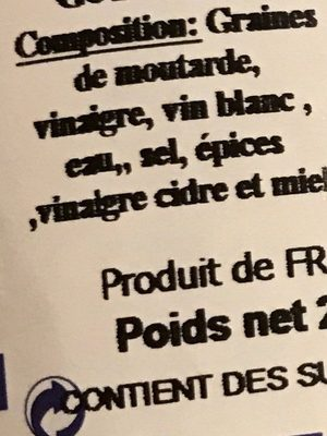 Moutarde vinaigre cidre et miel - Ingrédients