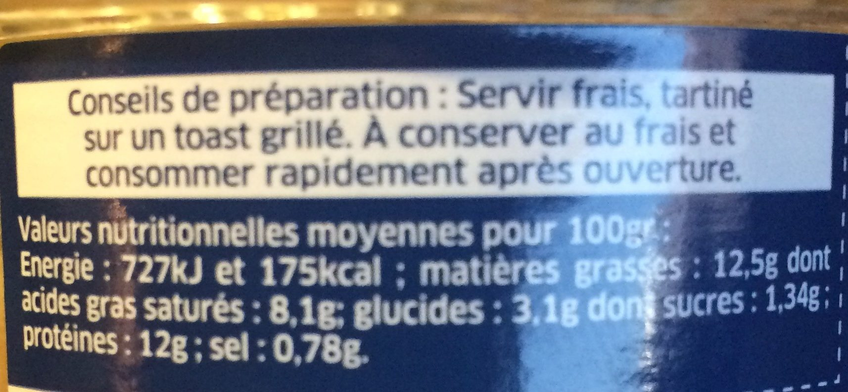 Rillettes de Homard au piment d'Espelette - Nutrition facts