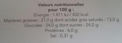 Sablé marguerite - Informations nutritionnelles - fr
