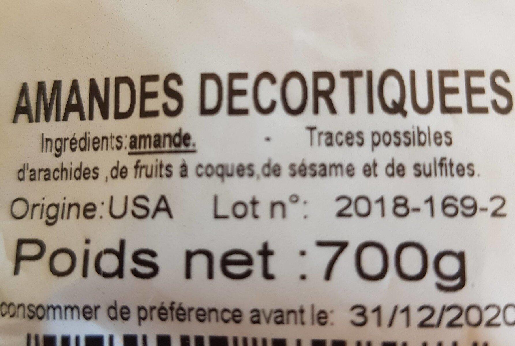 Amandes décortiquées - Ingrédients - fr