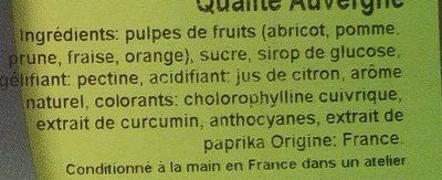 Pâtes de fruits barres qualité Auvergne - Ingrédients