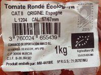 Tomates rondé ecologiques - Ingrédients