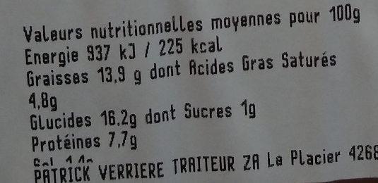 Beignets de légumes (courgettes fraîches) - Nutrition facts