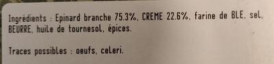 Epinards en branche à la crème - Ingrédients - fr