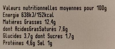 Epinards en branche à la crème - Informations nutritionnelles - fr