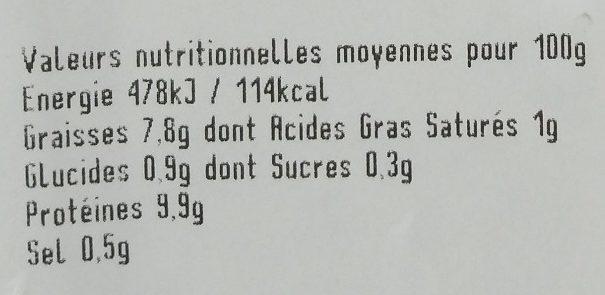 Salade de pieds - Informations nutritionnelles