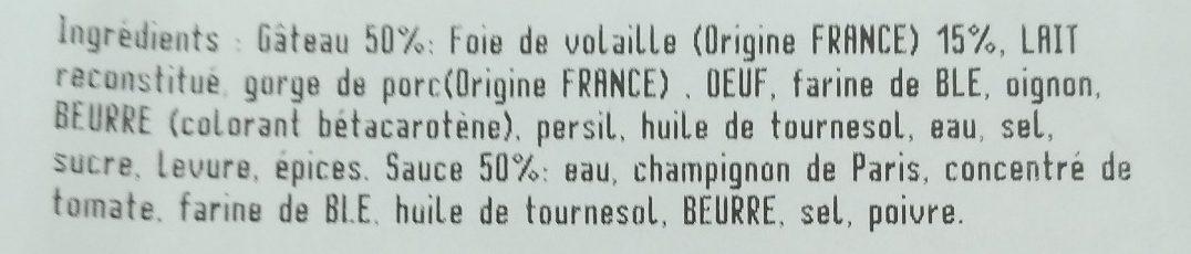 Verriere, Gateau de foie de volaille, de 480 Gr - Ingredients