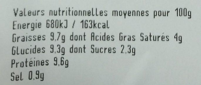 Verriere, Gateau de foie de volaille, de 480 Gr - Nutrition facts