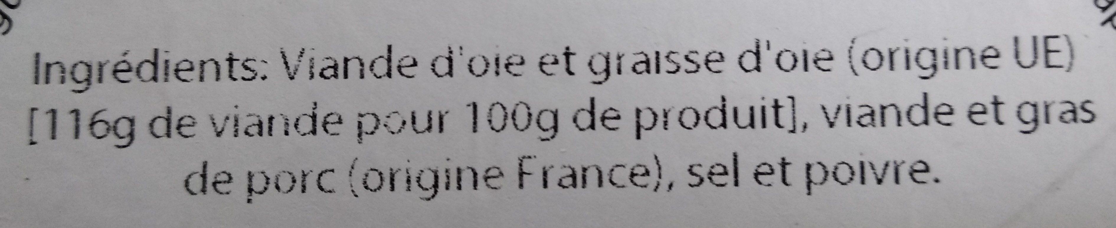 Les Rillettes d'Oie du Haut-Jois - Ingrediënten - fr