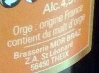 Mor Braz Blonde (4.5%) Brasserie Mor Braz 75 CL - Ingredients