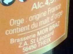 Mor Braz Blonde (4.5%) Brasserie Mor Braz 75 CL - Ingredients - fr