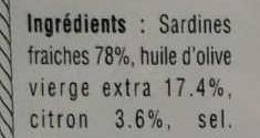 Sardines millésimées au citron - Ingrédients - fr