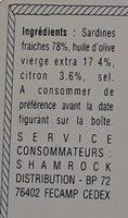 Sardines millésimées au citron - Informations nutritionnelles - fr