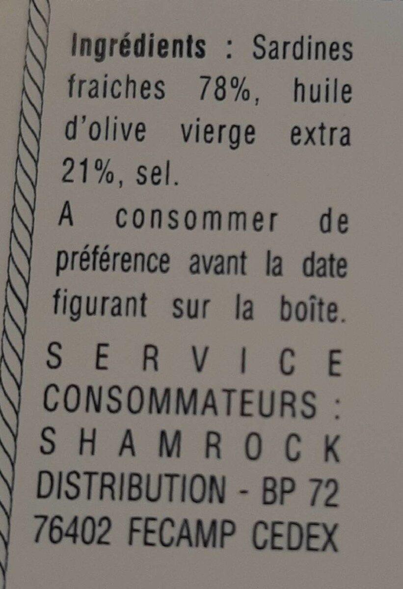 Sardines  millésimées à l'huile d'olive - Informations nutritionnelles - fr