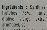 Sardines Millésimées aux aromates - Ingrédients