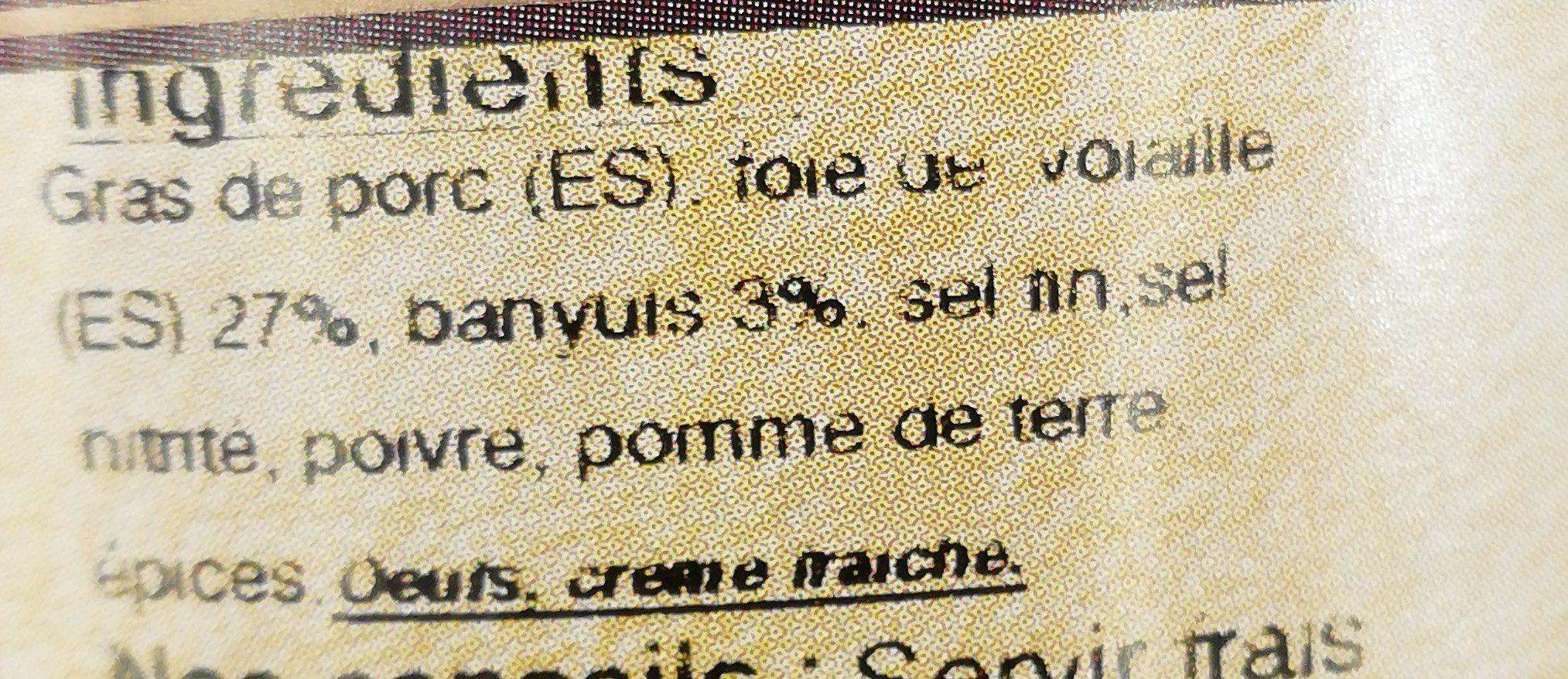 Terrine de foie de volaille au vin de Banyuls - Ingrédients - fr