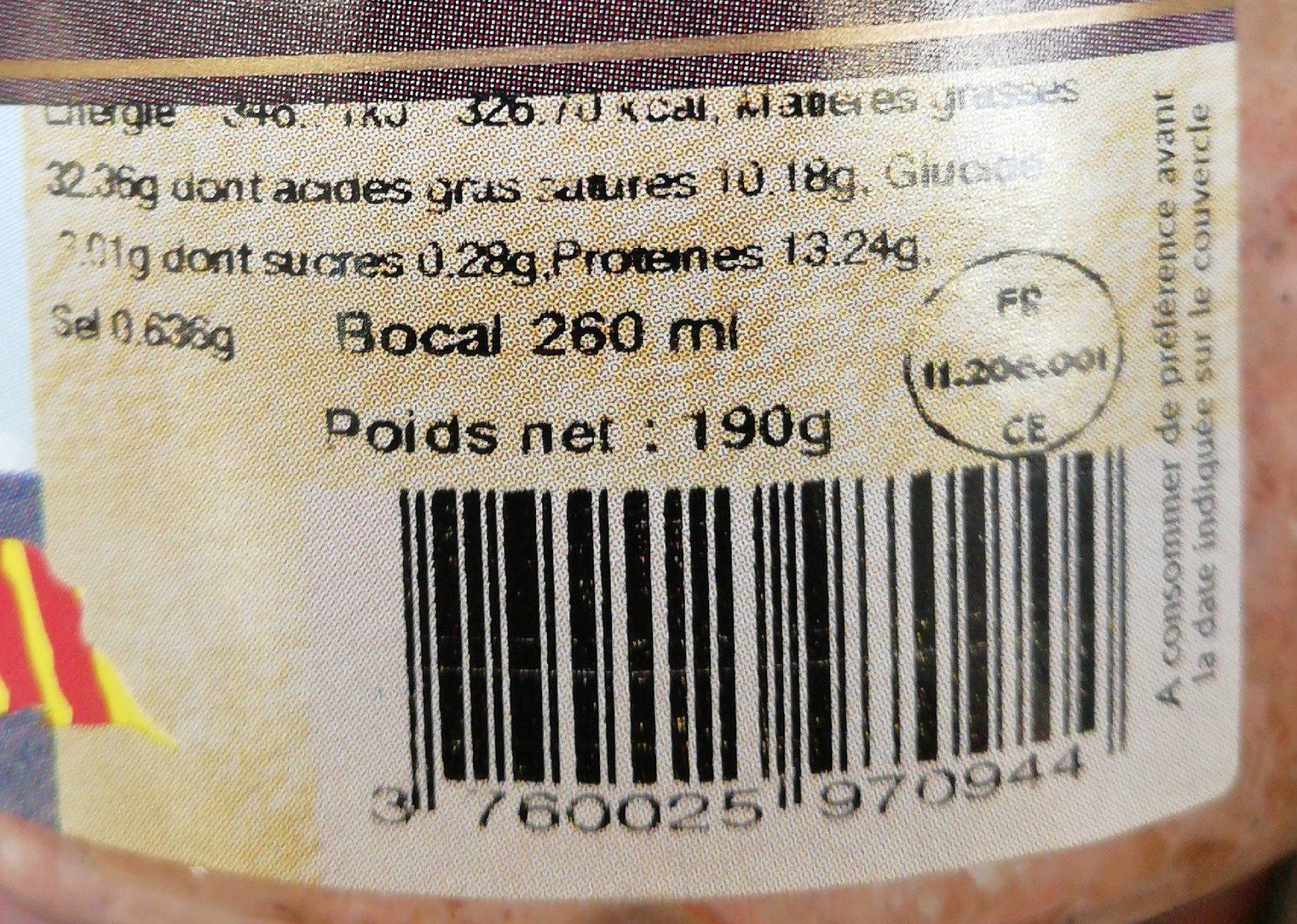 Terrine de foie de volaille au vin de Banyuls - Informations nutritionnelles - fr