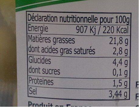 Olives vertes - Informations nutritionnelles - fr