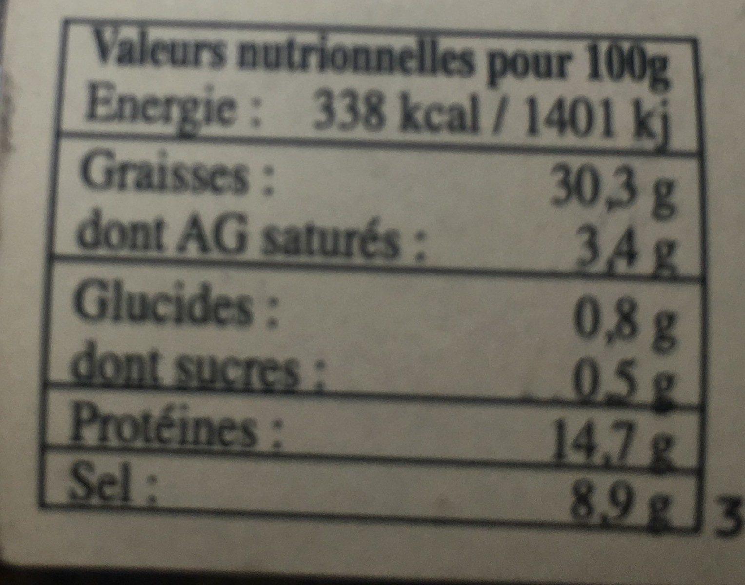 Tapenade à l'ancienne - Informations nutritionnelles