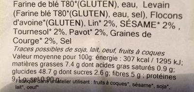 Pain au levain - Ingrédients - fr